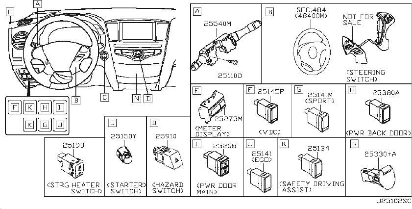 Nissan Rogue Switch Combination. INST, CENTER, DOOR
