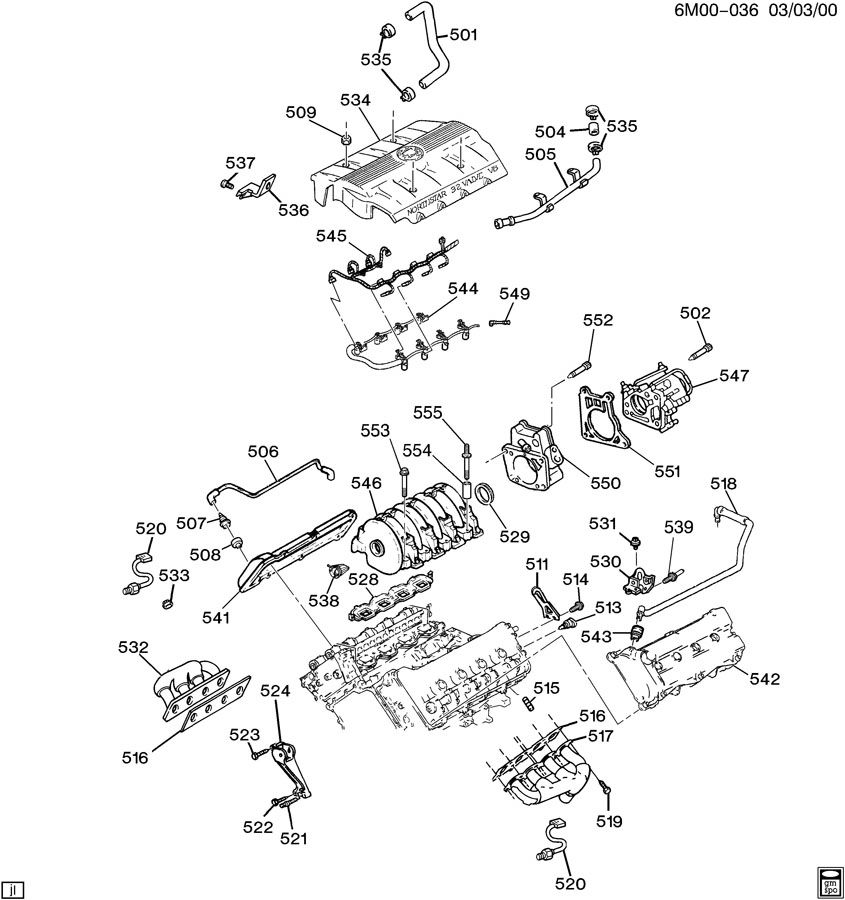 1997 Cadillac Eldorado ENGINE ASM-4.6L V8 PART 5 MANIFOLDS