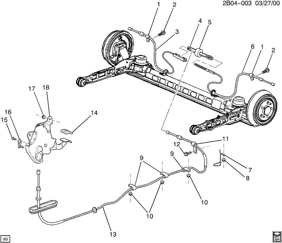 1999 Pontiac PARKING BRAKE SYSTEM