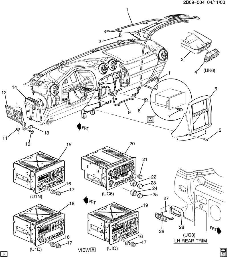 2002 Pontiac Aztek GT AUDIO SYSTEM/RADIO & CONTROLS