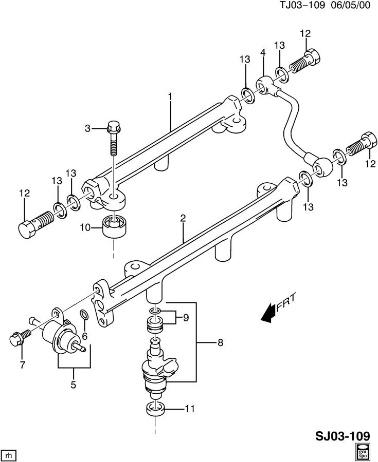 2003 Chevrolet S10 FUEL INJECTOR RAIL