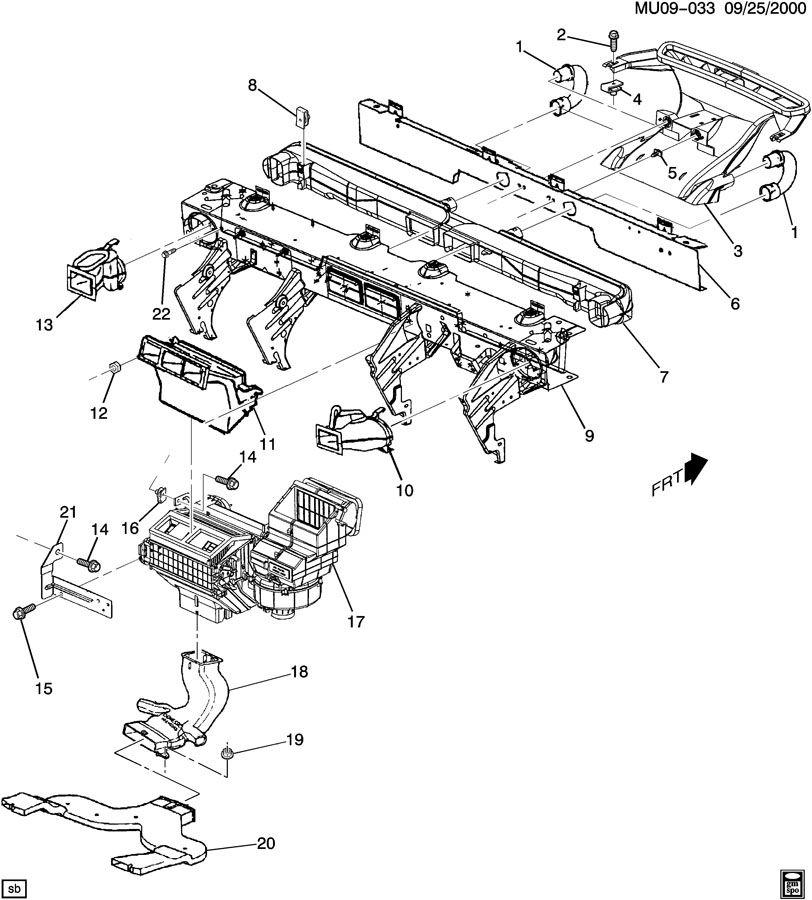 2001 Pontiac MONTANA AIR DISTRIBUTION SYSTEM/FRONT