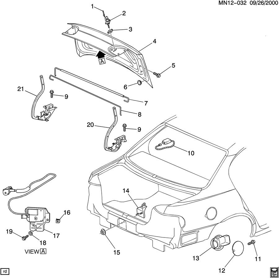 2005 Chevrolet Malibu REAR COMPARTMENT HARDWARE