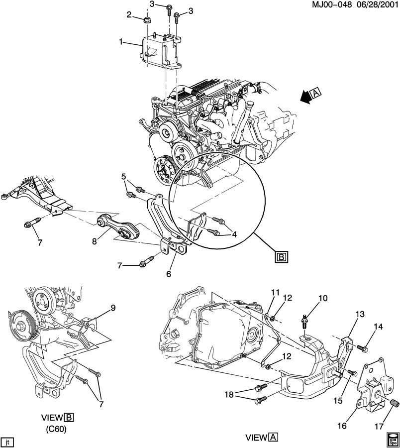 1999 Chevrolet Cavalier ENGINE & TRANSMISSION MOUNTING-L4