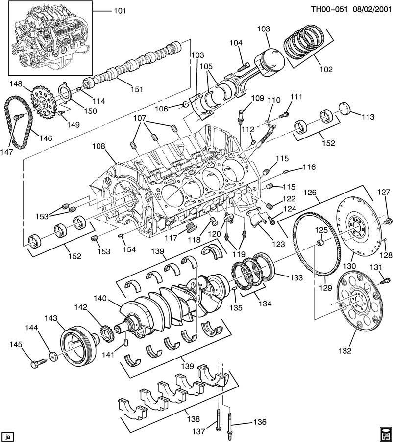ENGINE ASM-8.1L V8 PART 1 BLOCK & INTERNAL PARTS