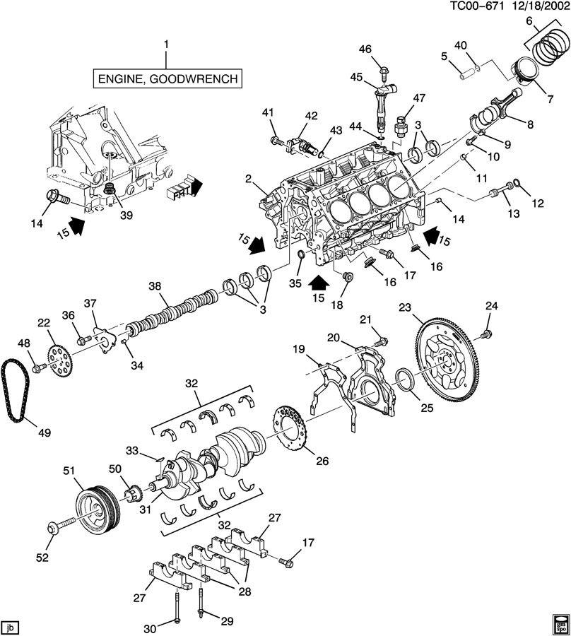 ENGINE ASM-6.0L V8 PART 1 CYLINDER BLOCK & RELATED PARTS