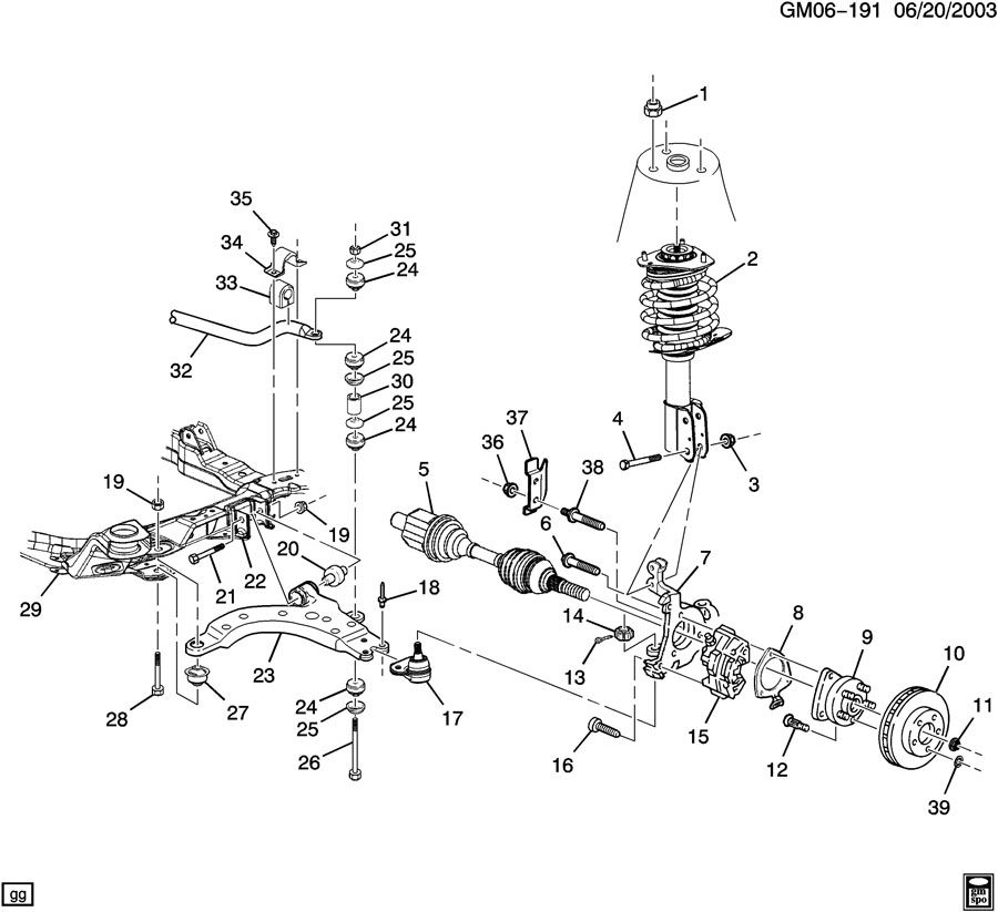 2003 Pontiac MONTANA SUSPENSION/FRONT