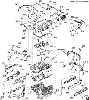 2004 Chevrolet Venture ENGINE ASM34L V6 PART 5 MANIFOLDS