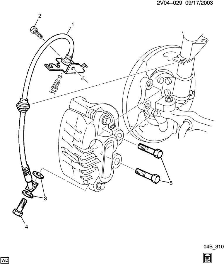 2004 Pontiac GTO BRAKE CALIPER MOUNTING/FRONT & HOSE