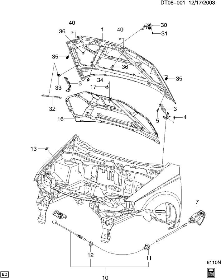 Chevrolet Aveo LATCH & CONTROL/HOOD