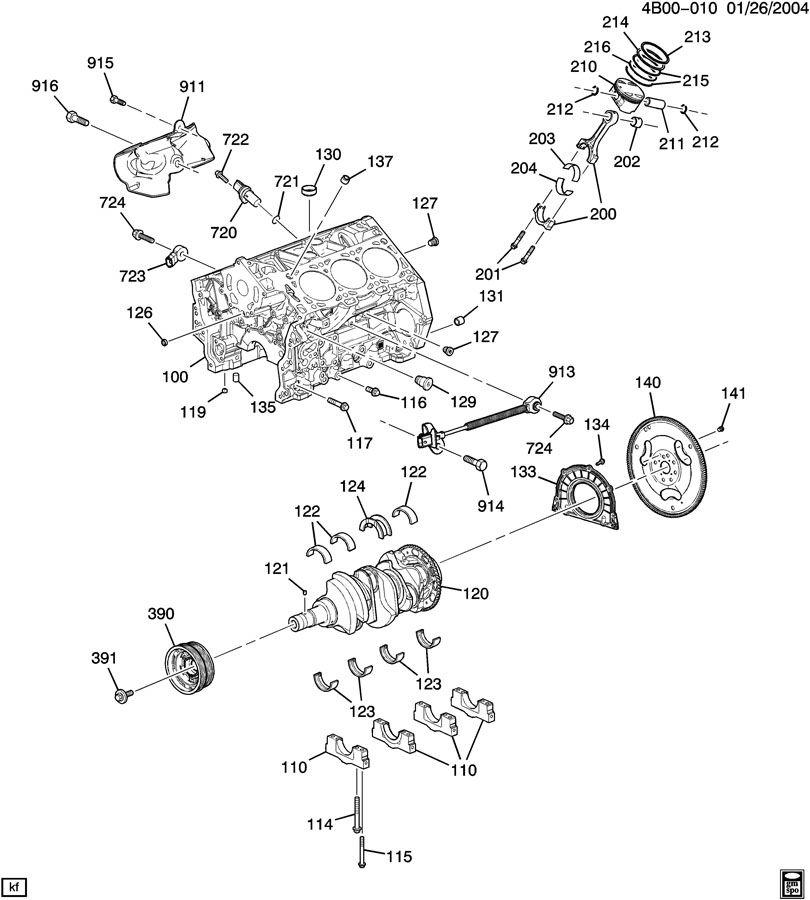Buick Rendezvous ENGINE ASM-3.6L V6 PART 1 CYLINDER BLOCK