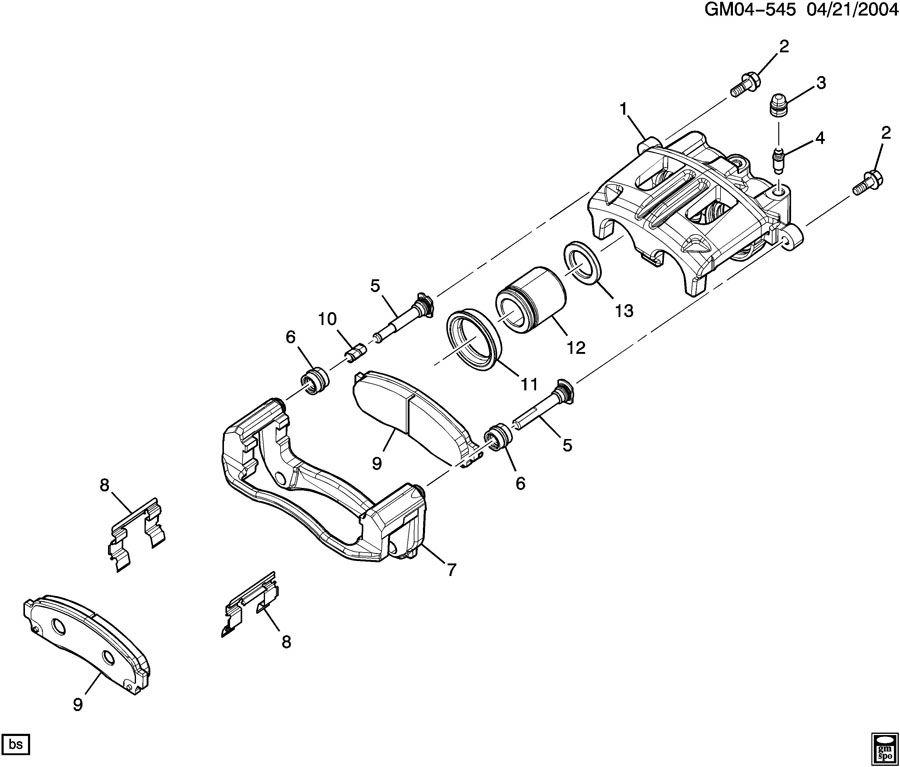 New Frt Caliper Pin Kit 05-06 Chevy Equinox,06 Pontiac