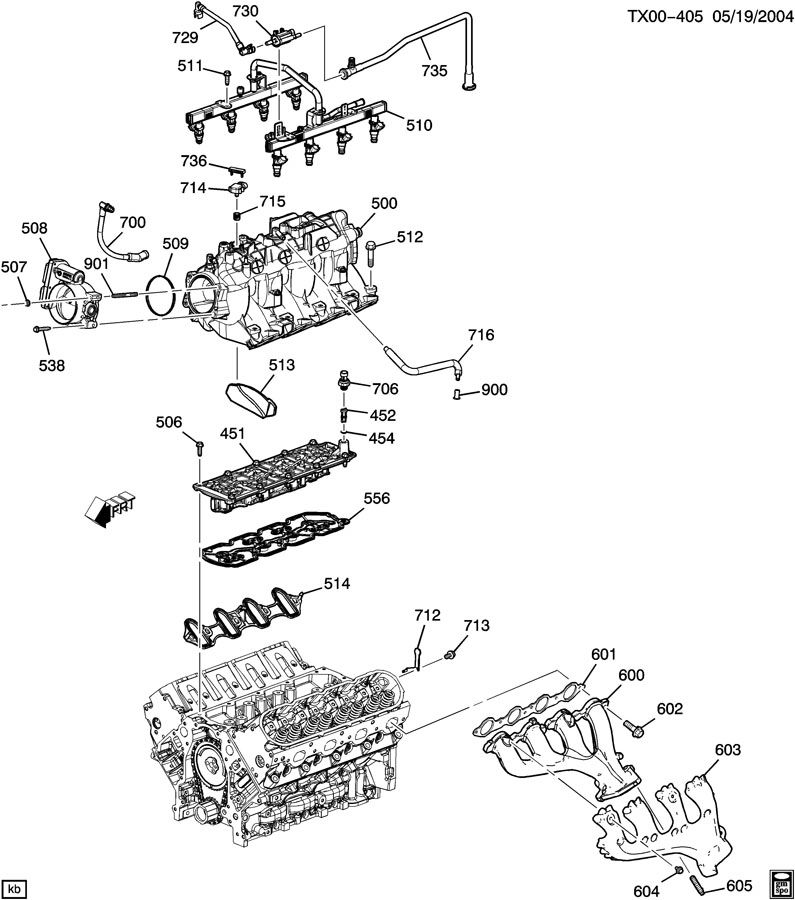 ENGINE ASM-5.3L V8 PART 5 MANIFOLD & FUEL RELATED PARTS