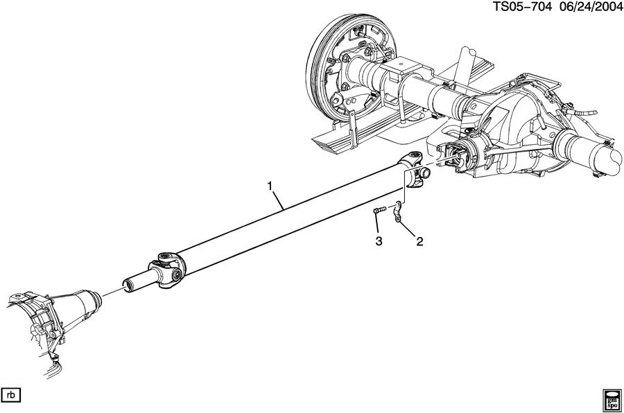 Prop shaft mounting/rear axle (one piece shaft