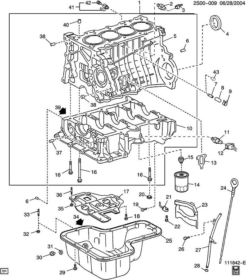 ENGINE ASM-1.8L L4 PART 4 CYLINDER BLOCK, OIL PAN