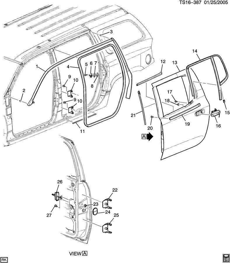 2002 Chevrolet TRAILBLAZER SS DOOR HARDWARE/SIDE REAR PART 1