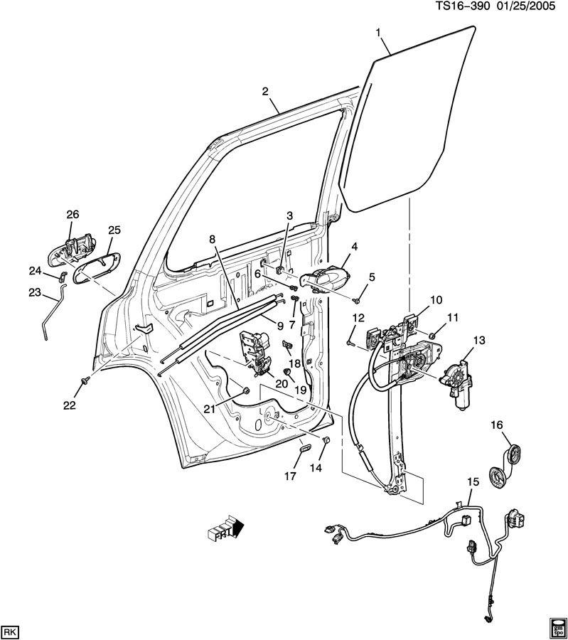 Chevrolet TRAILBLAZER DOOR HARDWARE/SIDE REAR PART 2