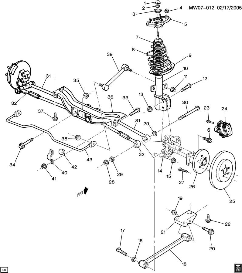 2001 Chevrolet Lumina SUSPENSION/REAR; W19-27 SUSPENSION/REAR