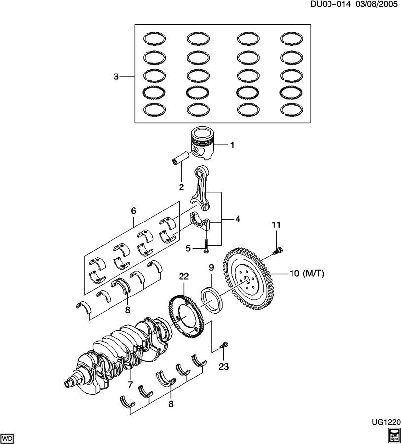 Chevrolet Aveo CRANKSHAFT & PISTON & FLYWHEEL