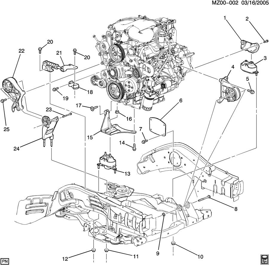 Z37-69 ENGINE & TRANSMISSION MOUNTING-V6