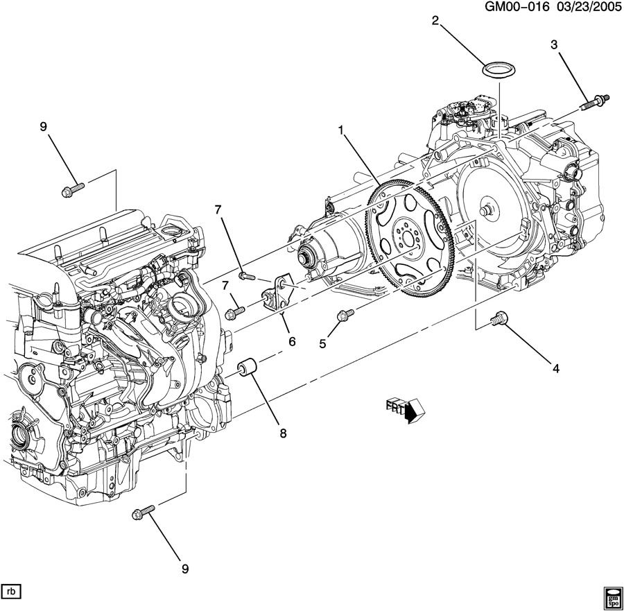 ENGINE TO TRANSMISSION MOUNTING; TRANSMISSION TO ENGINE