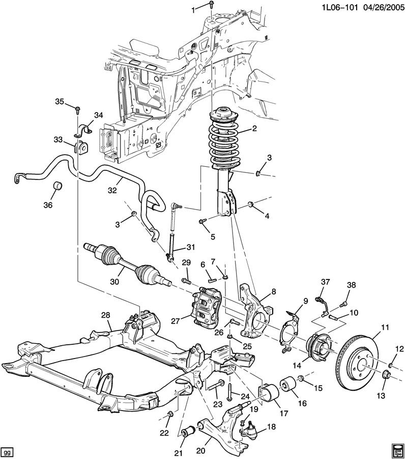 2006 Chevrolet Equinox SUSPENSION/FRONT