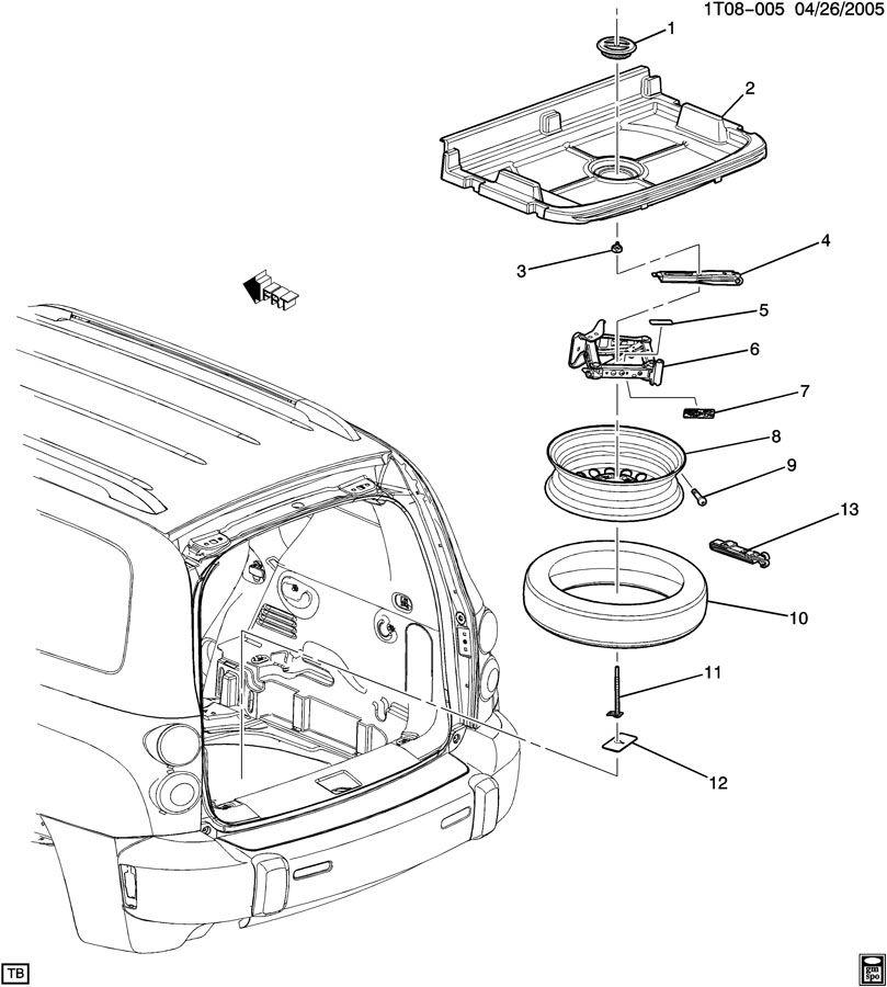 2009 Chevrolet HHR SPARE WHEEL STOWAGE & JACK PARTS