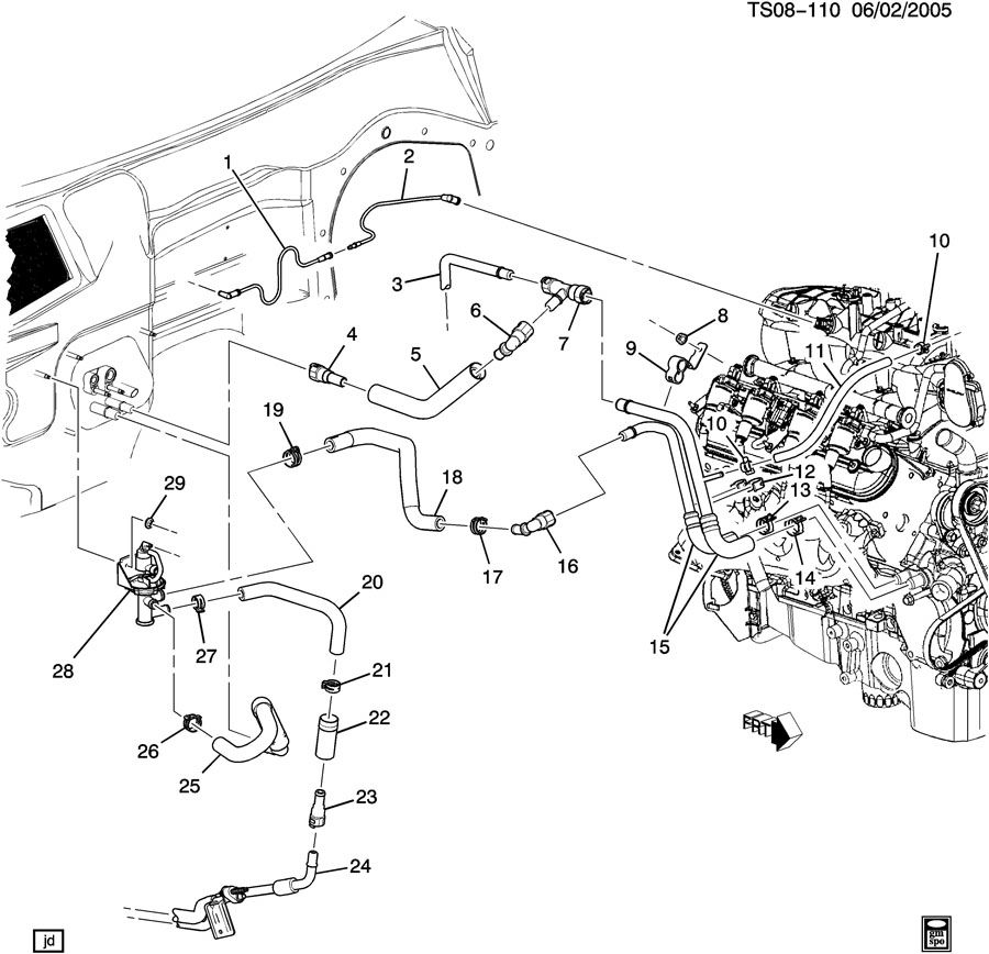 Chevrolet TRAILBLAZER SS HOSES & PIPES/HEATER PART 1 FRONT
