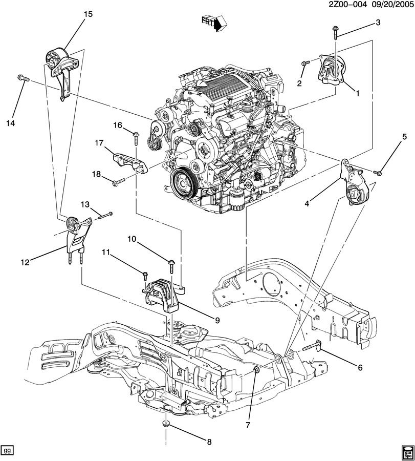 Pontiac Vibe Engine Mount Diagram Pontiac Vibe GT Engine