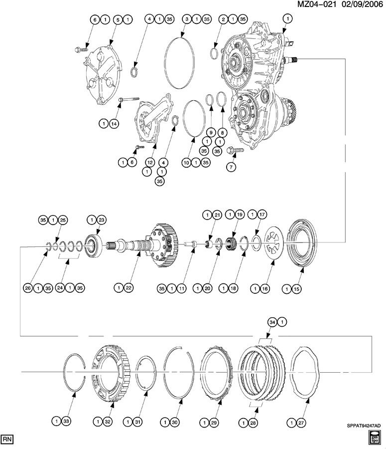 VARIABLE TRANSMISSION CASE COVER & FORWARD CLUTCH