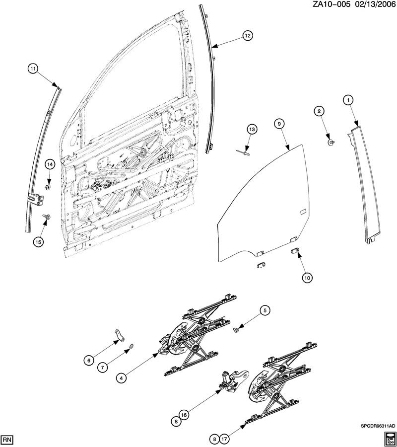 Saturn Ion DOOR/FRONT-GLASS & WINDOW REGULATOR