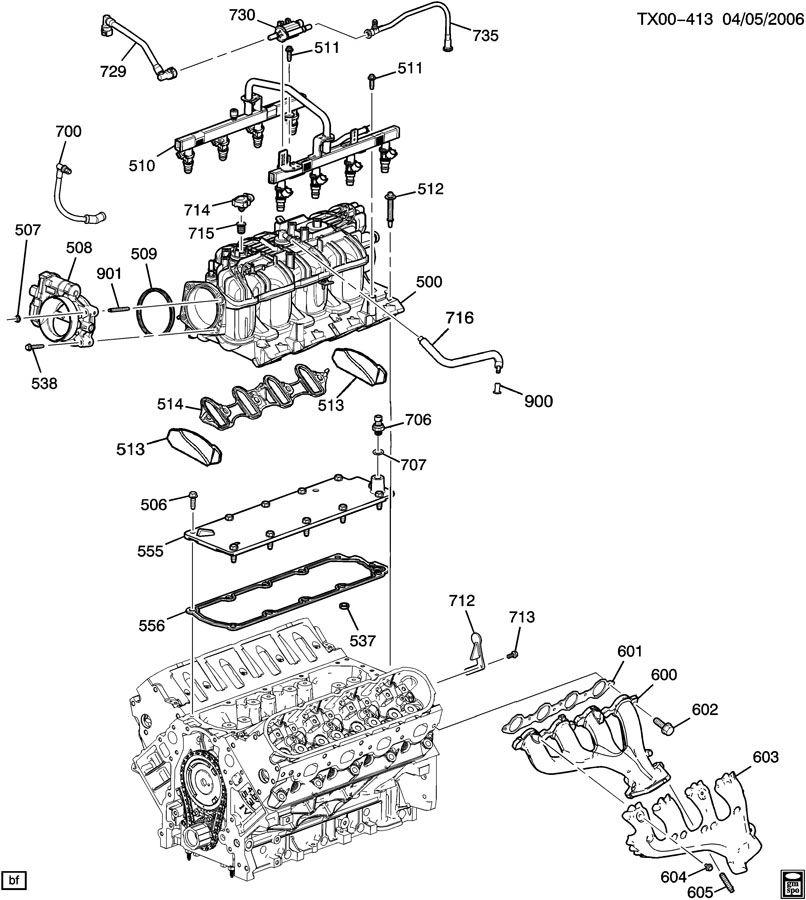 ENGINE ASM-6.0L V8 PART 5 MANIFOLD & FUEL RELATED PARTS