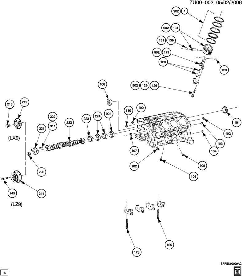 ENGINE ASM-V6 CYLINDER BLOCK & INTERNAL PARTS