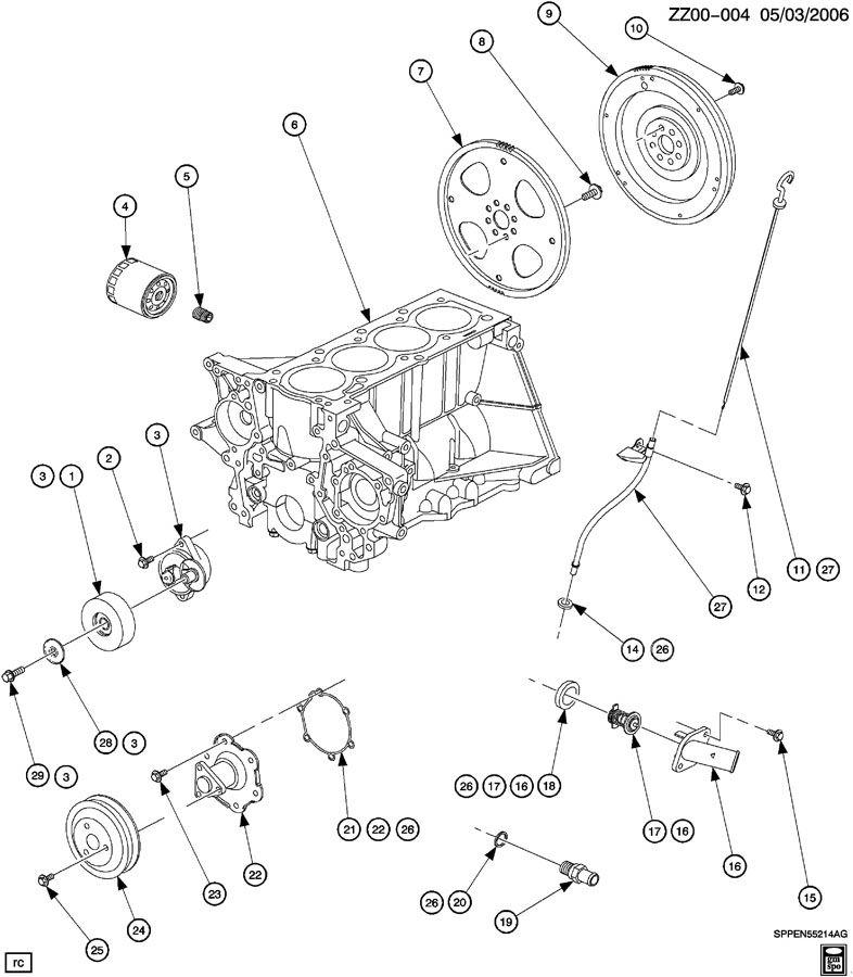 ENGINE ASM-1.9L L4 OIL FILTER, OIL LEVEL INDICATOR & WATER