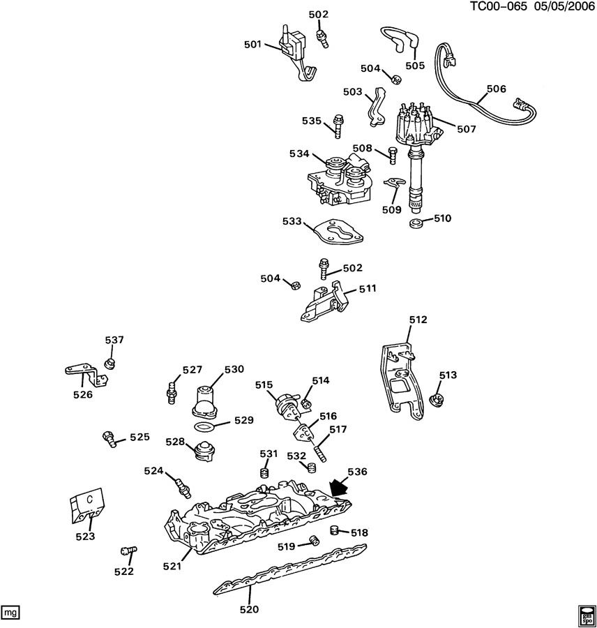 ENGINE ASM-7.4L V8 PART 5 MANIFOLD & FUEL RELATED PARTS