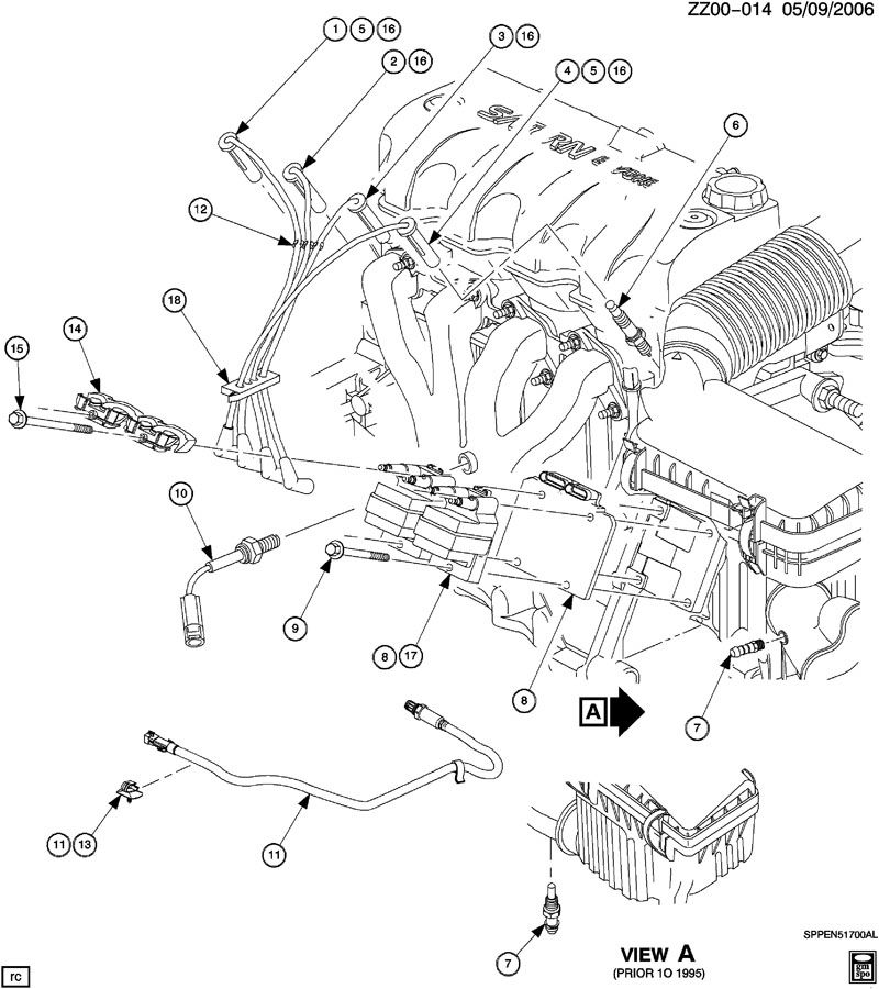 ENGINE ASM-1.9L L4 IGNITION COMPONENTS, OXYGEN & AIR TEMP