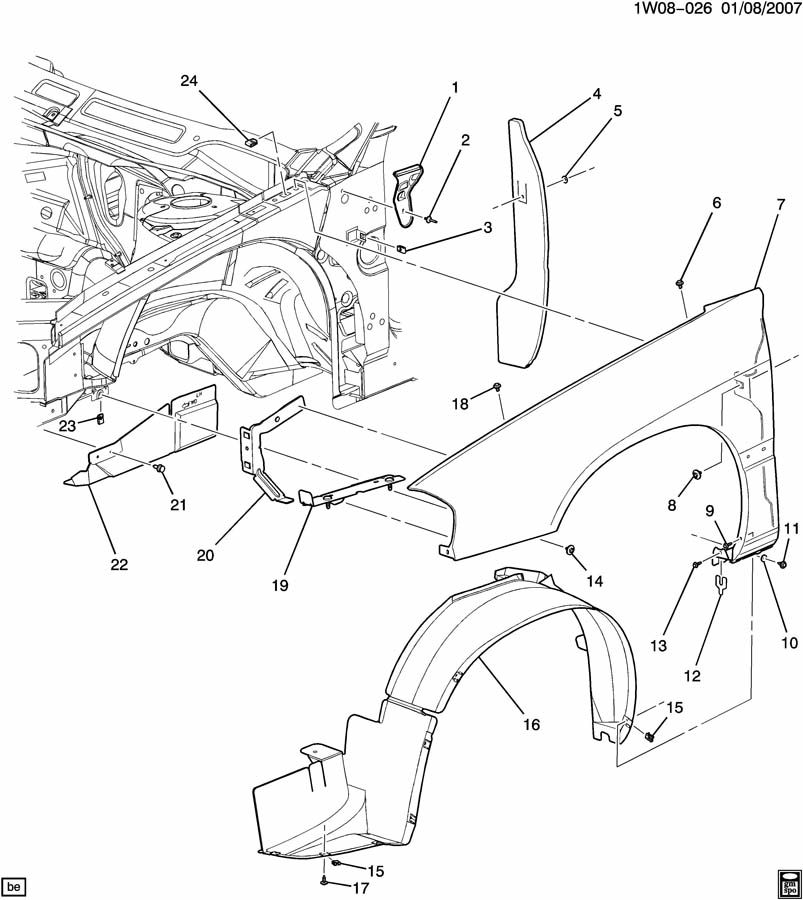 2002 Chevrolet Impala FENDER & WHEELHOUSE/FRONT END