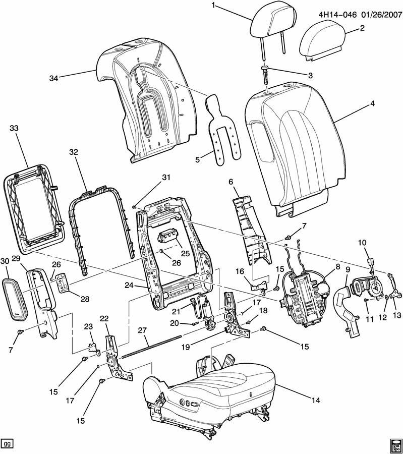 2006 Buick Lucerne SEAT ASM/PASSENGER-BACK