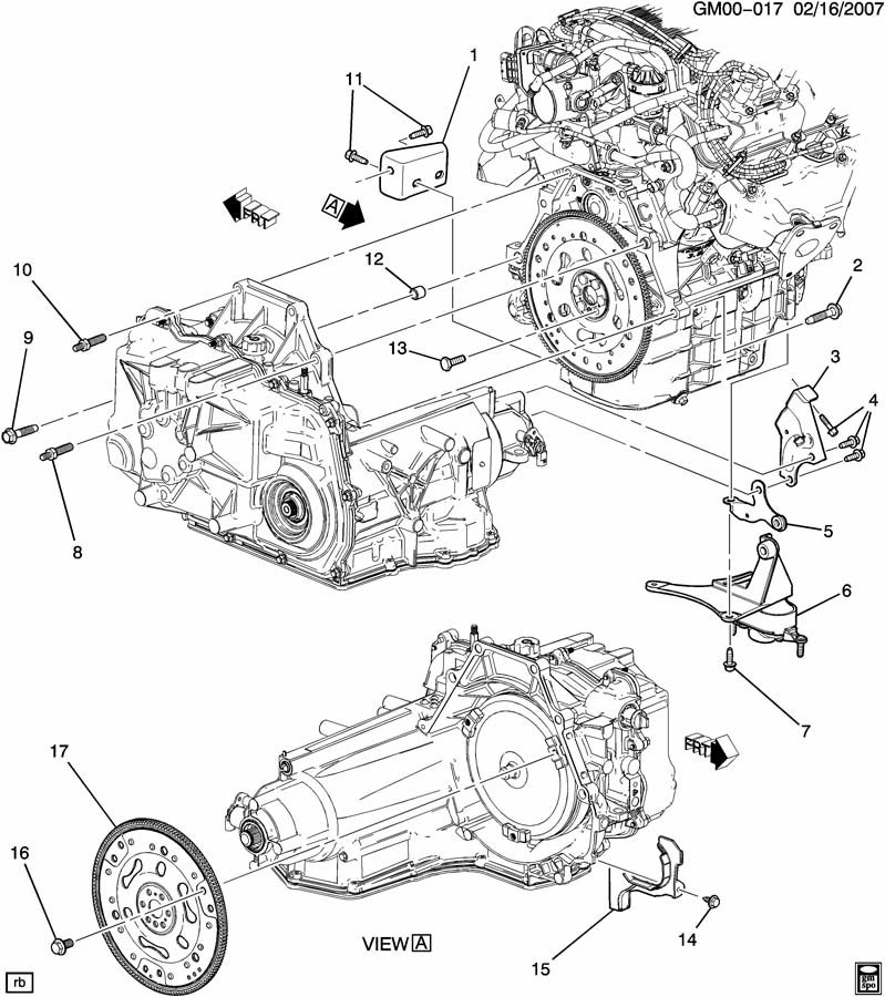 2005 Pontiac G6 ENGINE TO TRANSMISSION MOUNTING