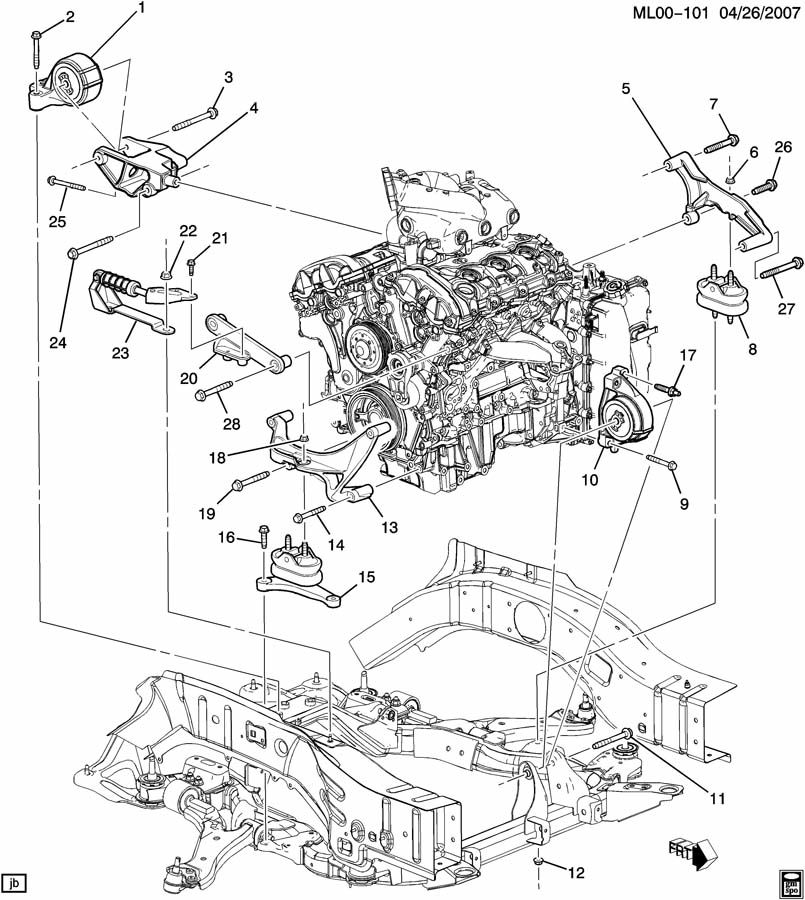 Pontiac Torrent ENGINE & TRANSMISSION MOUNTING
