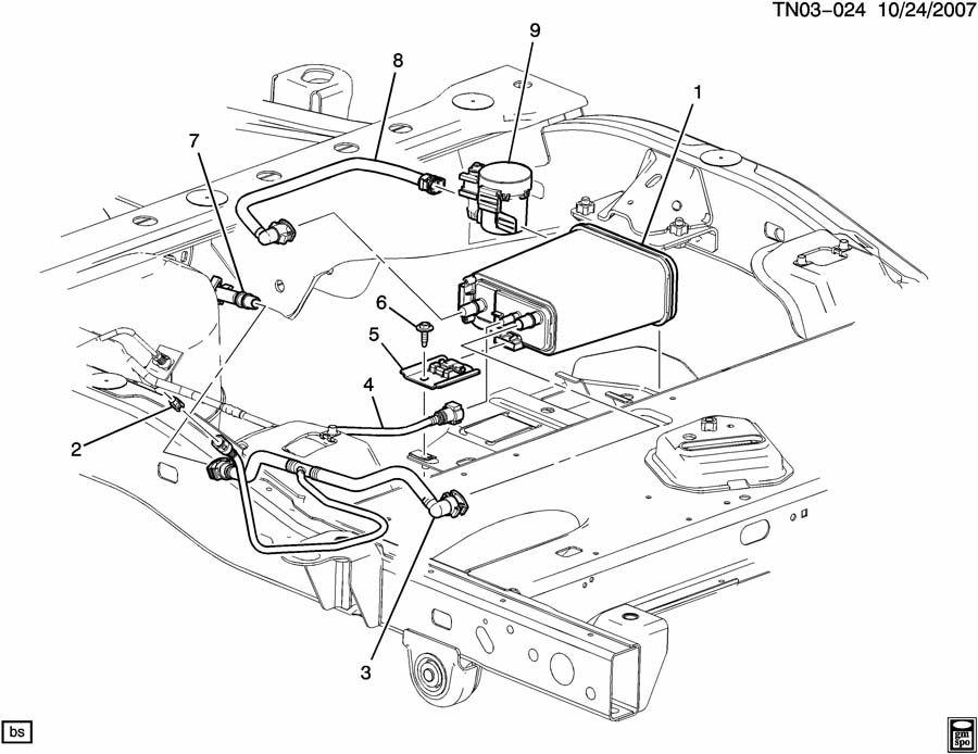 Hummer H3 VAPOR CANISTER LINES & CANISTER