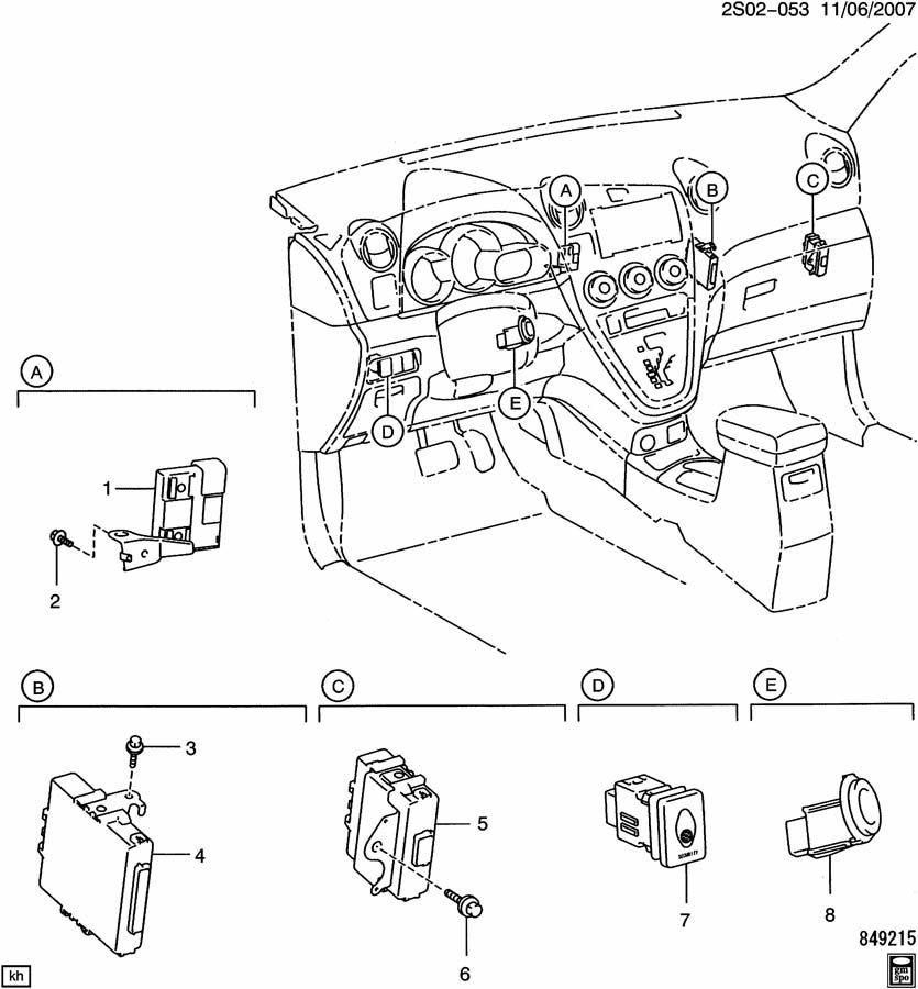 2009 Pontiac Vibe ALARM SYSTEM/ANTI THEFT