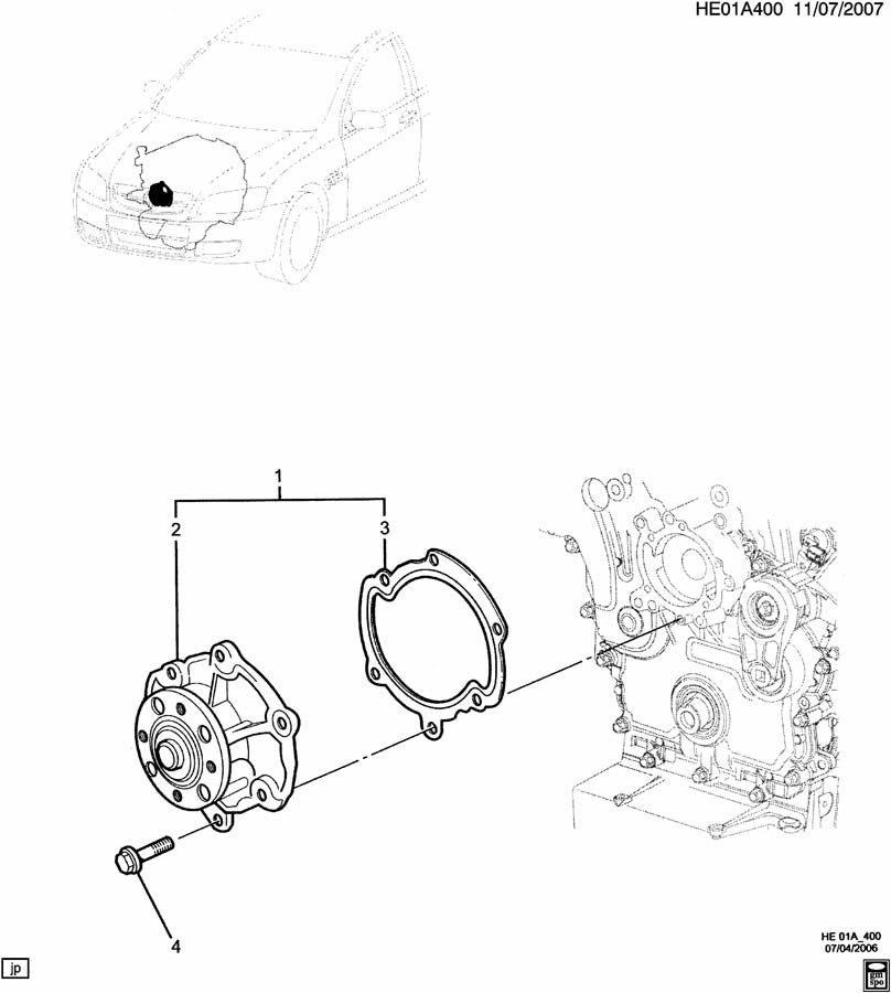 Pontiac G8 ENGINE ASM-3.6L V6 COOLANT PUMP