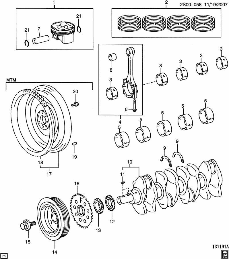 ENGINE ASM-1.8L L4 PART 6 CRANKSHAFT, PISTONS, & RELATED PARTS