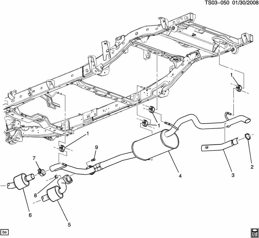 Exhaust system part 2 rear (lh8/5.3l); (lh9/5.3p