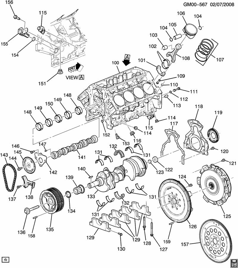 Cadillac CTS ENGINE ASM-6.2L V8 PART 1 CYLINDER BLOCK