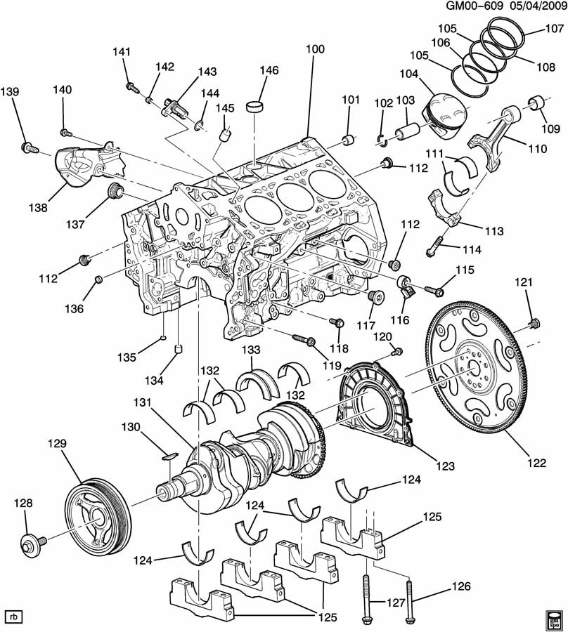 Cadillac SRX ENGINE ASM-2.8L V6 PART 1 CYLINDER BLOCK