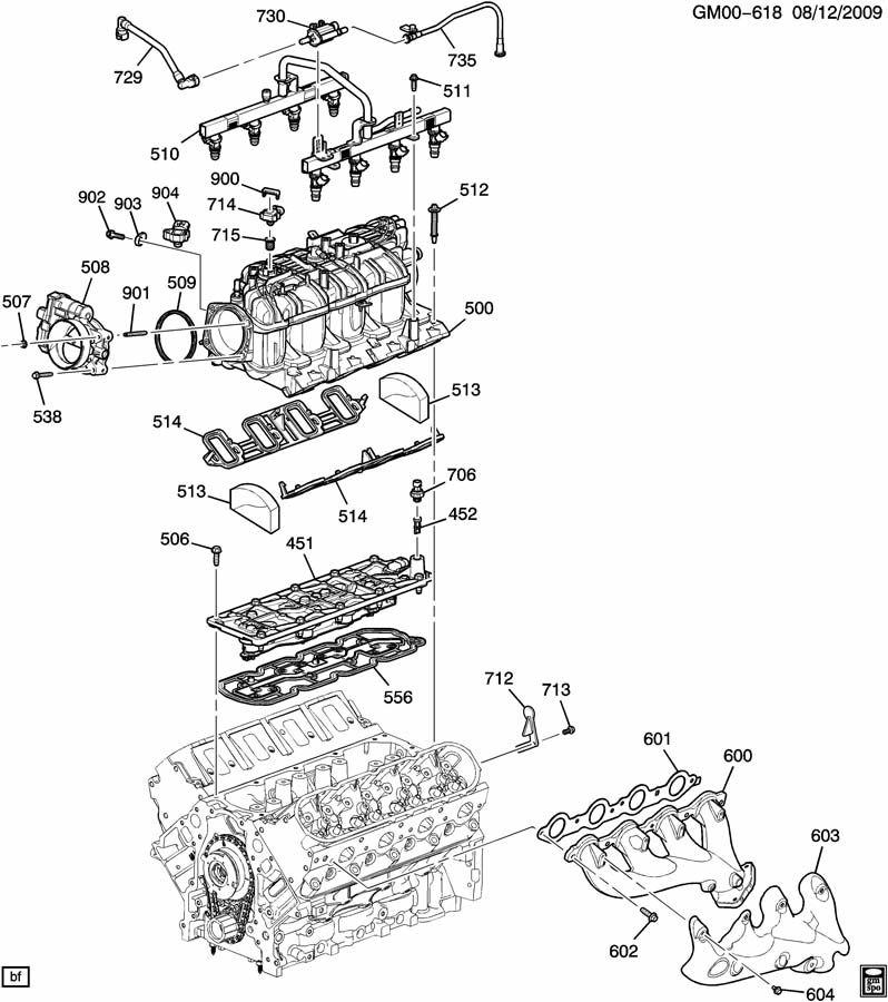 Chevrolet Silverado ENGINE ASM-6.0L V8 PART 5 MANIFOLD