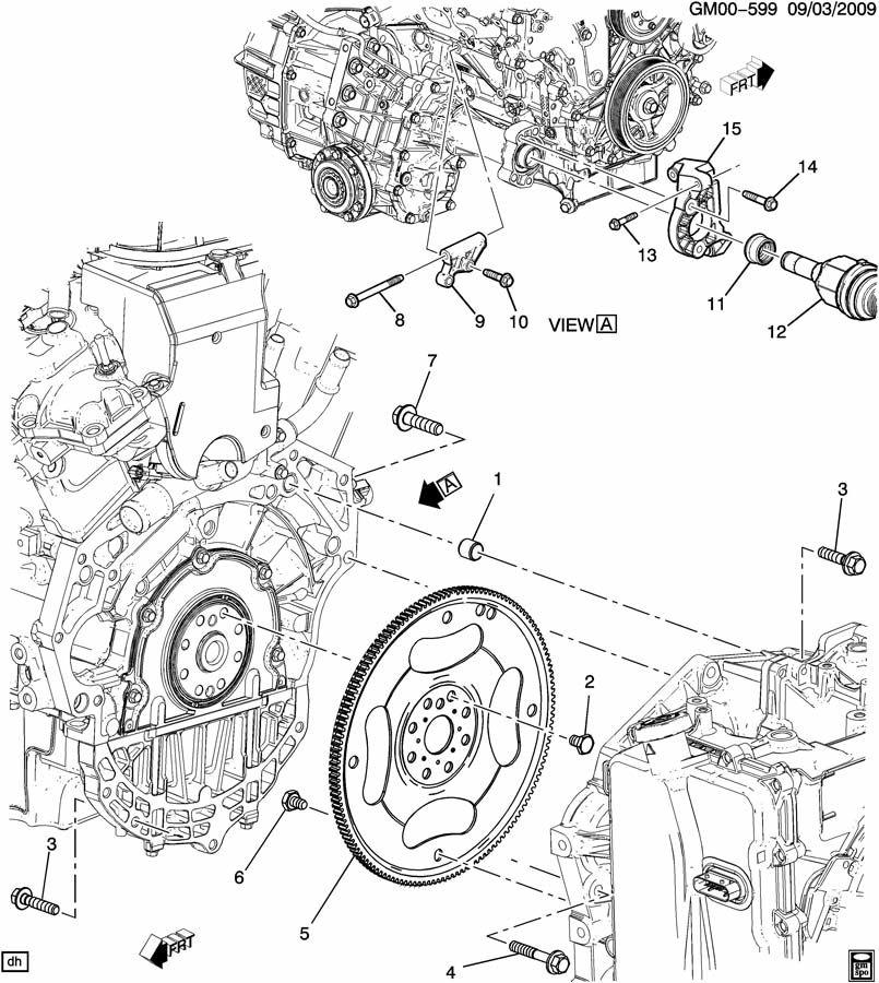ENGINE TO TRANSMISSION MOUNTING; TRANSMISSION TO ENGINE