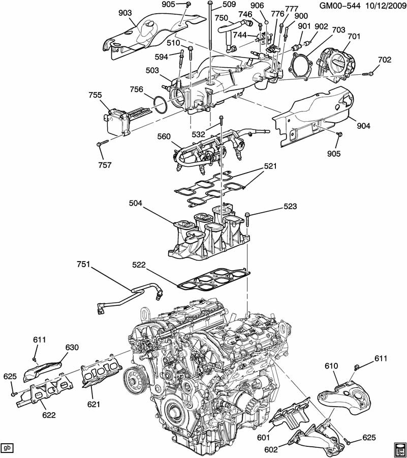 ENGINE ASM-3.6L V6 PART 6 MANIFOLDS & RELATED PARTS